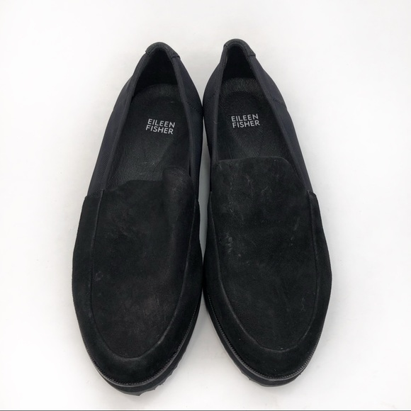 Eileen Fisher Dell Black Suede Slip On Shoes